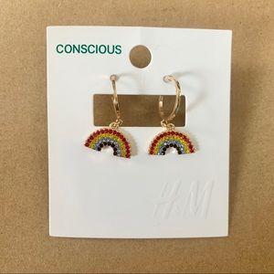 H&M Divided Rainbow Gold Hoop Earrings